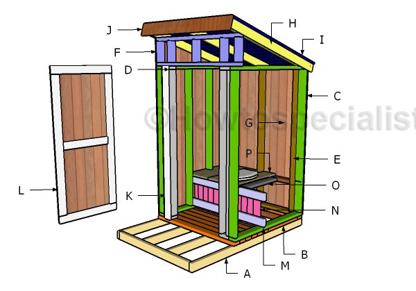 Free outhouse plans howtospecialist how to build step for Build a house online free
