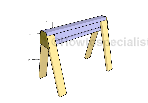 Building stackable i beam sawhorse