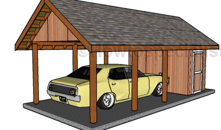 Carport with storage plans howtospecialist how to Carport with storage room