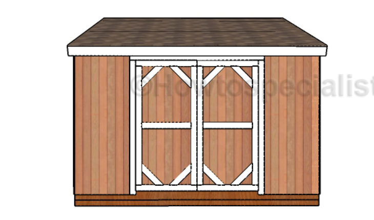 8x12 lean to shed double door plans howtospecialist for Double door shed plans