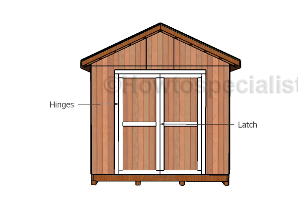 10x16 shed doors and trims plans howtospecialist how for Double door shed plans