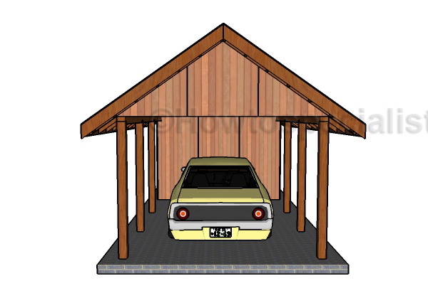 Single carport with storage roof plans howtospecialist Carport with storage room