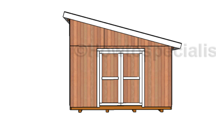 12x16 Lean to Shed Plans - Front view