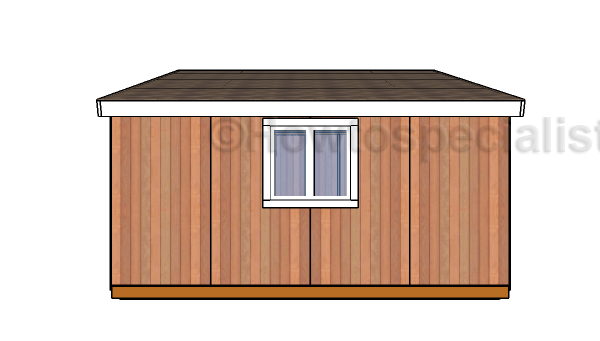 12x16 Lean to Shed Plans - Side view