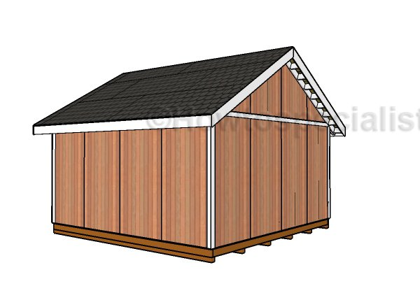 16x16 Shed Plans - Back view