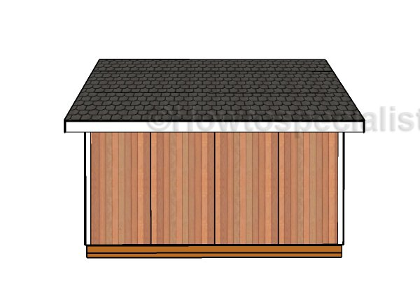 16x16 Shed Plans - Side view