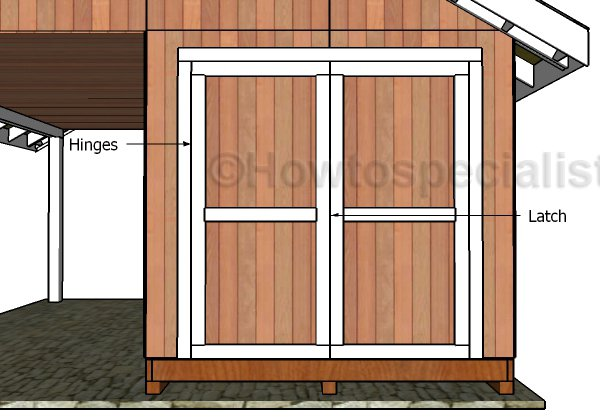 Building shed doors plans howtospecialist how to build for Double door shed plans