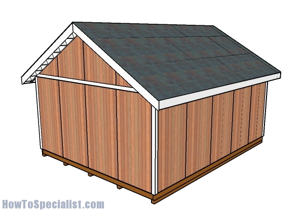 16x20 Shed Plans - Back view