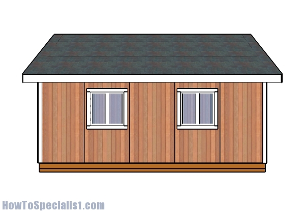16x20 Shed Plans - Side view