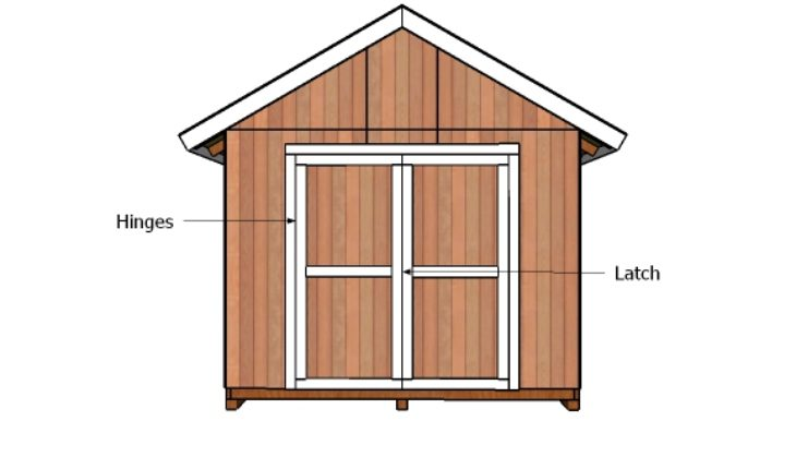 10x10 double shed doors plans howtospecialist how to for Double door shed plans