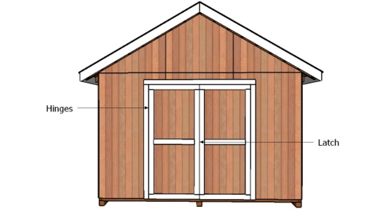 12x12 double shed doors plans howtospecialist how to for Double door shed plans