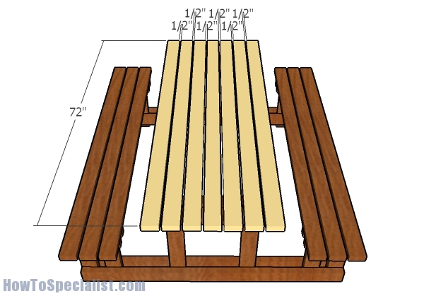 Fitting the table slats