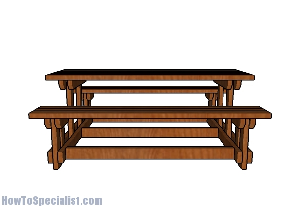Picnic Table Plans with Detached Benches Plans