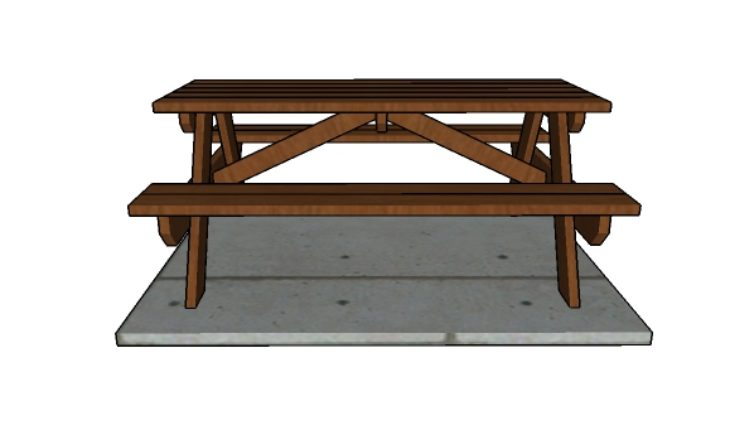 6' Picnic Table Plans - Front view