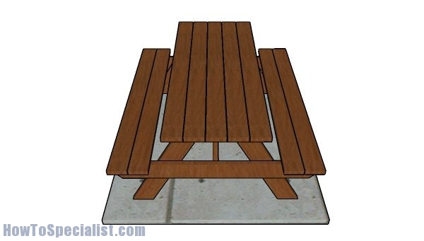 6' Picnic Table Plans - Top view