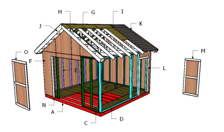 14x14 shed roof plans howtospecialist how to build for How to roof a house step by step