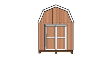 10x10 barn shed plans with loft - Front view