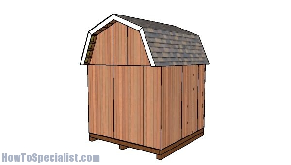 10x10 barn shed plans with loft - back view