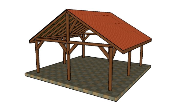20x20 Picnic Shelter Plans - 20x20 Pavilion - Free DIY Plans HowToSpecialist - How To Build