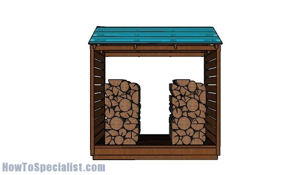 Firewood Shed Plans - Front view