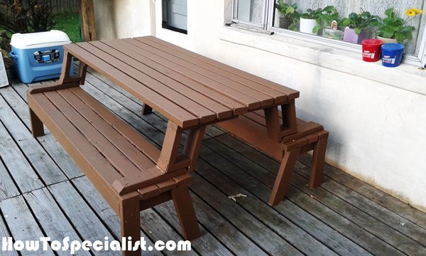 Diy Picnic Table Bench Howtospecialist How To Build