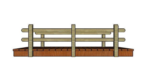 10' Flat Garden Bridge Plans - Side view