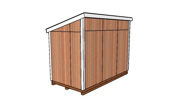 12x6 Lean to Shed Plans - Back view