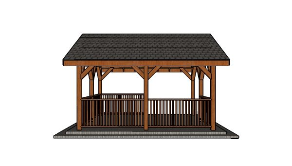 14x16 Pavilion Plans - Side view