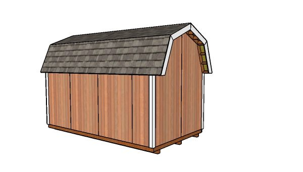 8x14 Gambrel Shed Plans - Back view