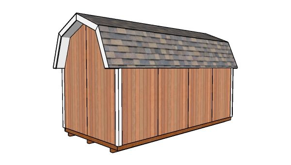 8x16 Gambrel Shed Plans - Back view