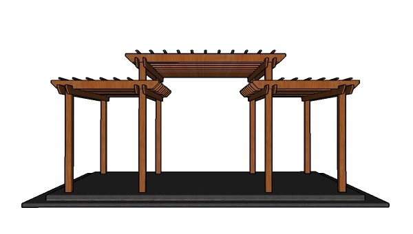 Tiered Pergola Plans - Front view