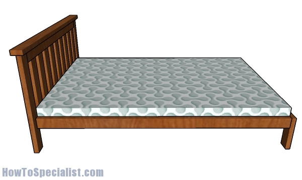2x4 Full size Bed Plans - side view