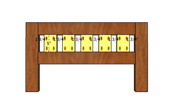 Fitting the slats - footboard panel