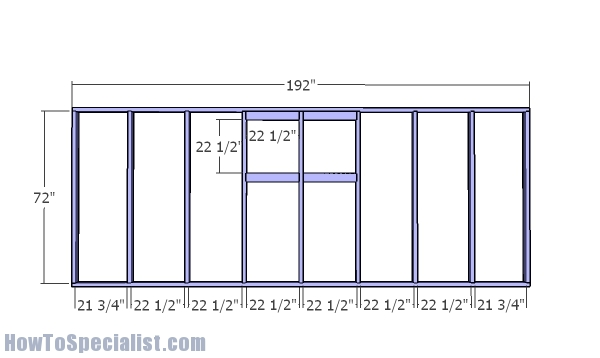 Side wall with vents frame - 12x16 greenhouse plans