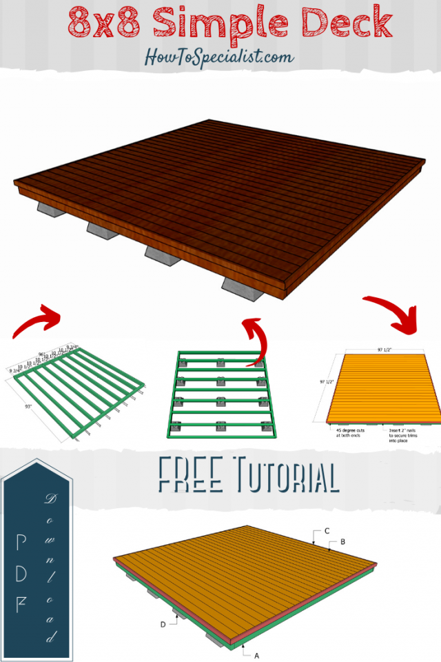 Simple Ground Level 8x8 Deck Free Diy